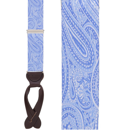 Light Blue Paisley Silk Suspenders - Button