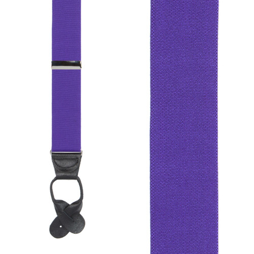 1.5 Inch Wide Button Suspenders - PURPLE
