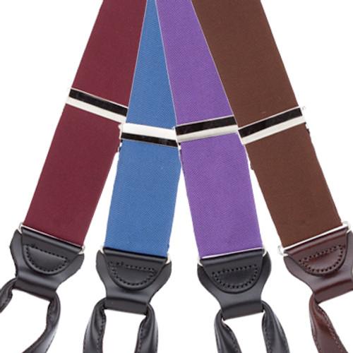 Silk Solid Color Suspenders - Button