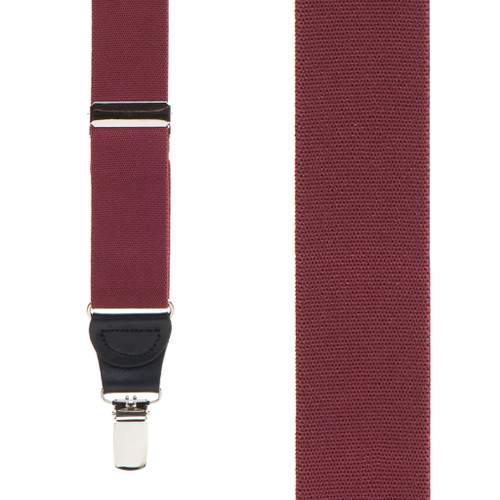 1.25 Inch Wide Y-Back Clip Suspenders - BURGUNDY