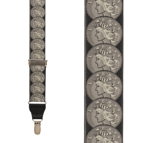 Vintage Ribbon Coin Of The Realm Suspenders - CLIP