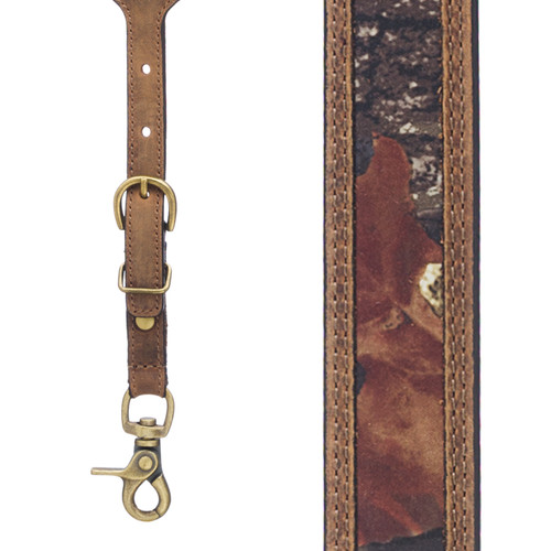 Mossy Oak Camo Western Leather Suspenders