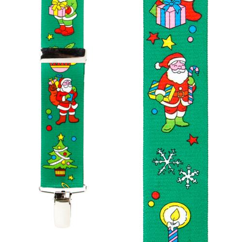Santa on Green Suspenders - 1.5 Inch Wide Clip