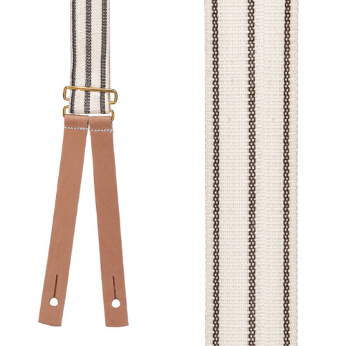 Civil War Suspenders - BROWN Striped