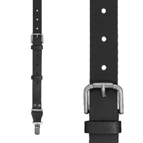 Buckle Strap 1 Inch Wide Leather Clip Suspenders - BLACK