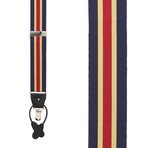 Yellow/Navy Variable Stripes Barathea Suspenders