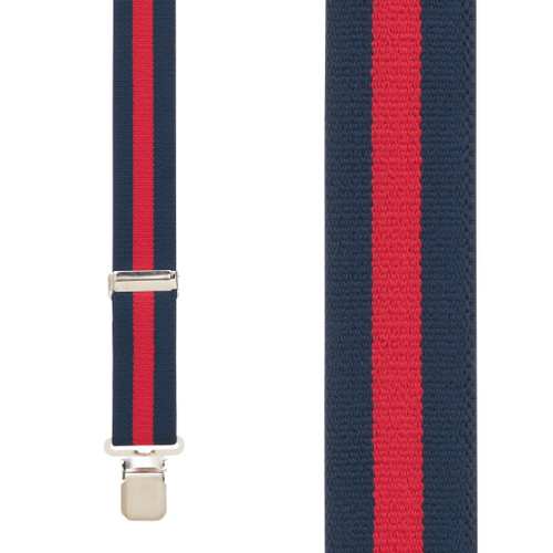 NAVY/RED STRIPE 1.5 Inch Wide Construction Clip Suspenders