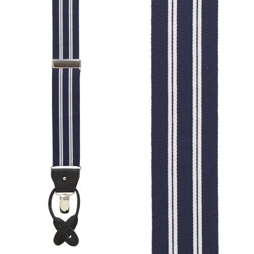 White/Navy Variable Stripes Barathea Suspenders