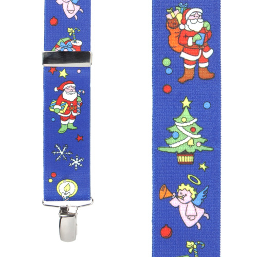 Santa on Blue Suspenders - 1.5 Inch Wide Clip