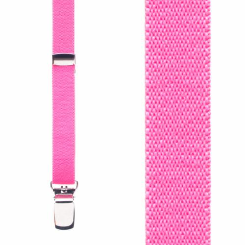 1/2 Inch Wide Skinny Suspenders - NEON PINK
