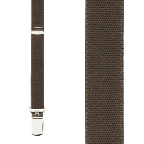 1/2 Inch Wide Skinny Suspenders - BROWN