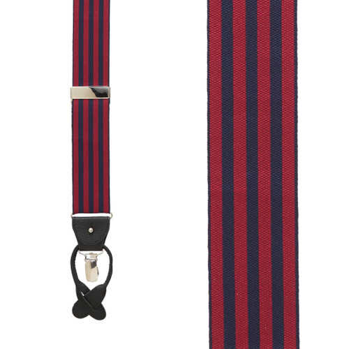 Burgundy/Navy Equal Stripes Barathea Suspenders