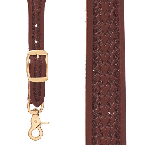 Basket Stamped 1.5 Inch Wide Western Leather Suspenders - BROWN
