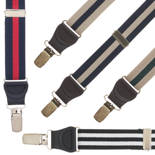 1 Inch Wide Striped Drop Clip Suspenders (Y-Back)