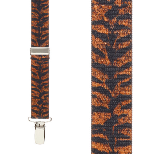 Tiger Print Suspenders for Kids - 36 Inch Only