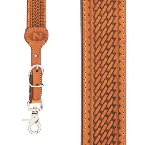 Basketweave  All Leather Suspenders - LIGHT BROWN