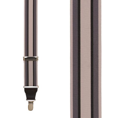 Grey Stripe Grosgrain CLIP Suspenders