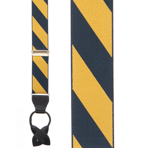Navy/Yellow Striped Suspenders Sale