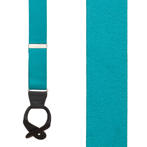 1.5 Inch Wide Button Suspenders - TEAL