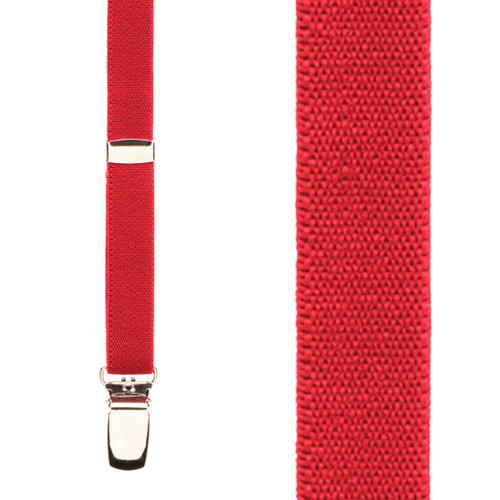 1/2 Inch Wide Skinny Suspenders - RED