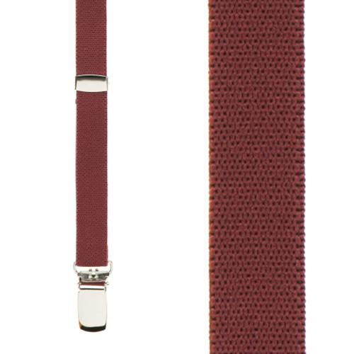 1/2 Inch Wide Skinny Suspenders - BURGUNDY