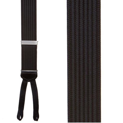 Black Formal Ribbed Suspenders - Runner End
