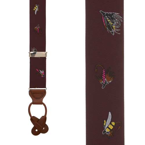 Vintage Ribbon Burgundy Fly Fishing Suspenders - BUTTON