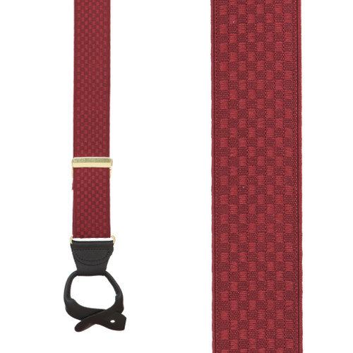 Burgundy Jacquard Checkered Suspenders - Button