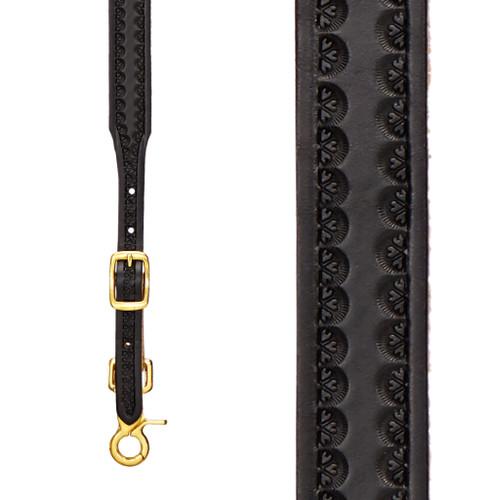 Border Stamped 1 Inch Wide Western Leather Suspenders - BLACK