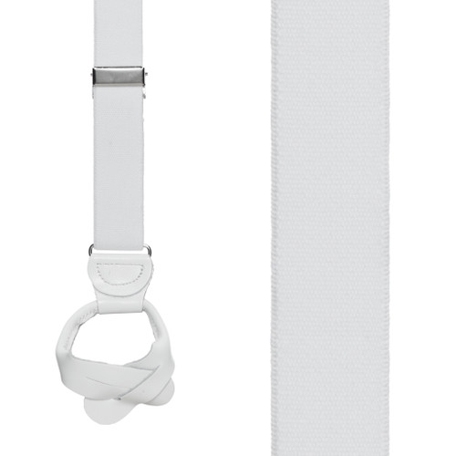 1 Inch Wide Button Suspenders - WHITE