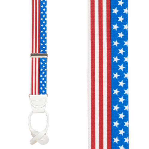 USA Stars and Stripes Suspenders - 1.5 Inch Wide, Button
