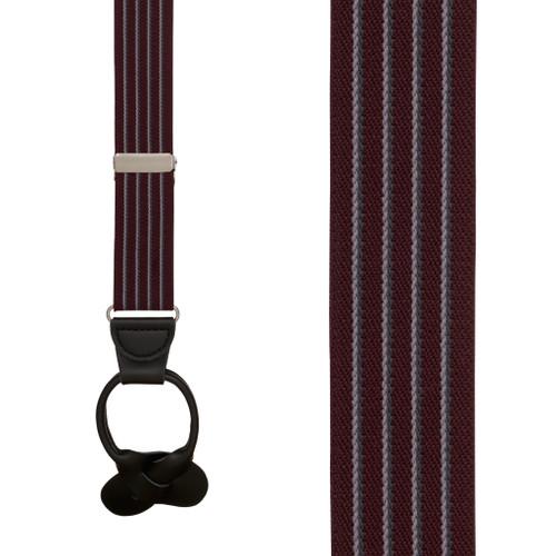 BURGUNDY Pinstripe Elastic Suspenders - Button