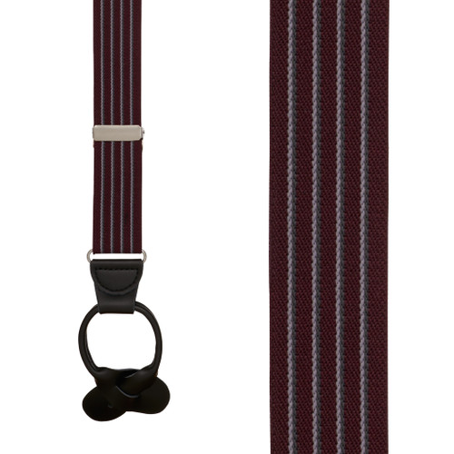 BURGUNDY Pinstripe Elastic Suspenders - Button