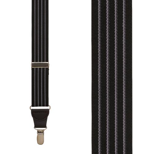 BLACK Pinstripe Elastic Suspenders - Clip
