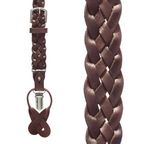 Basketweave Leather Convertible Suspenders - DARK BROWN