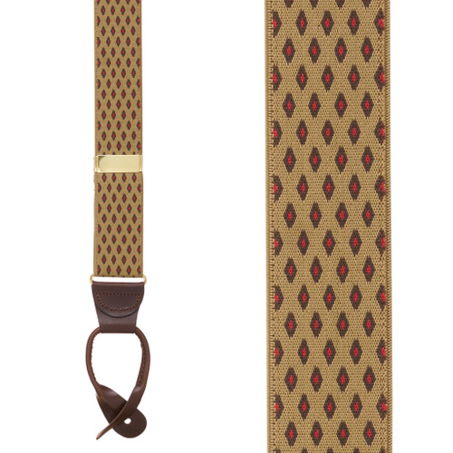 TAN Jacquard Diamond Burst Checkered Suspenders - Button
