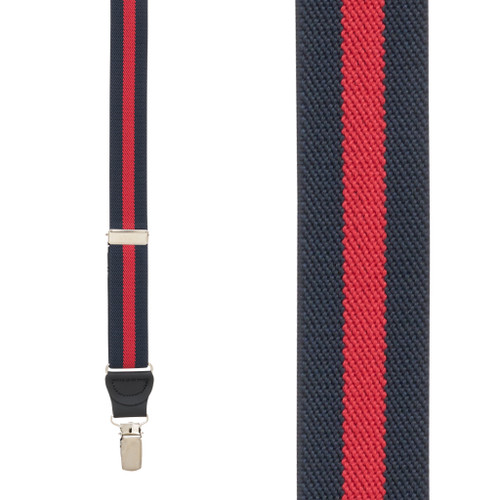 NAVY/RED Striped Y-Back Clip Suspenders - 1 Inch Wide
