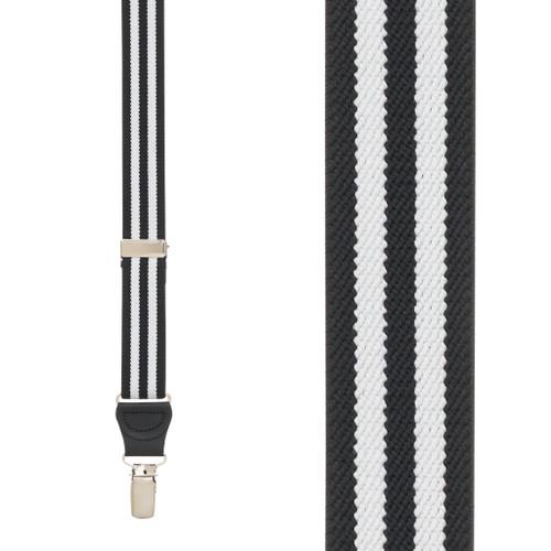 BLACK/WHITE Striped Y-Back Clip Suspenders - 1 Inch Wide