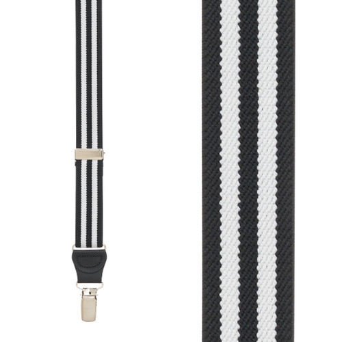 BLACK/WHITE Striped Y-Back Clip Suspenders - 1 Inch Wide