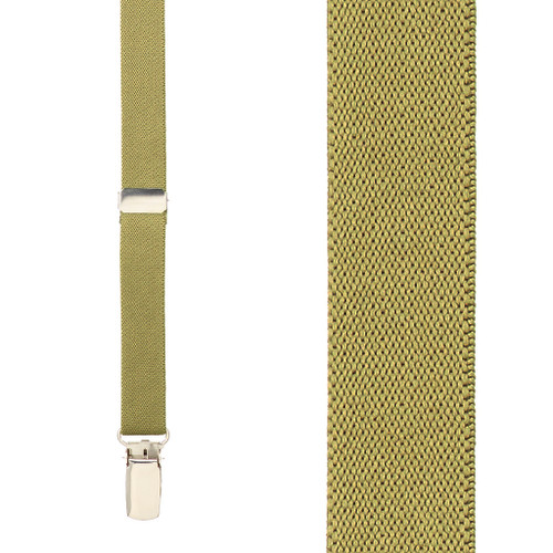 3/4 Inch Wide Thin Suspenders - TAN (Matte)