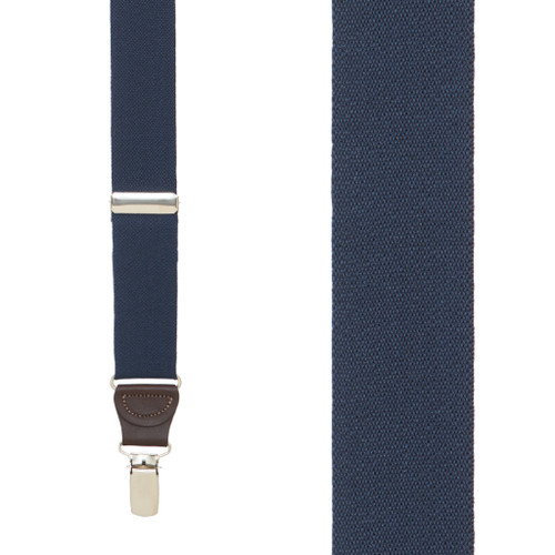 1.25 Inch Wide Y-Back Clip Suspenders - NAVY BLUE (Brown Leather)