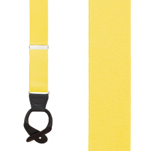 1.5 Inch Wide Button Suspenders - YELLOW