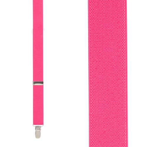 1 Inch Wide Clip Suspenders (Y-Back) - FUCHSIA