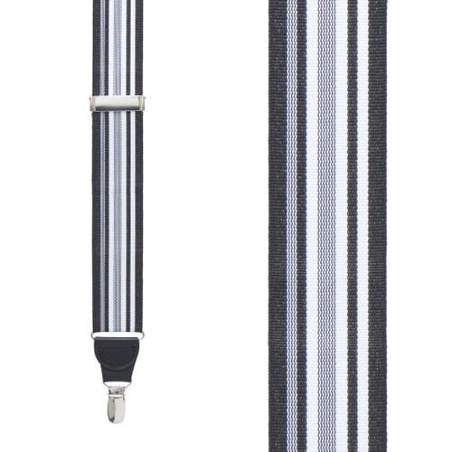 Black/White Grosgrain Striped CLIP Suspenders