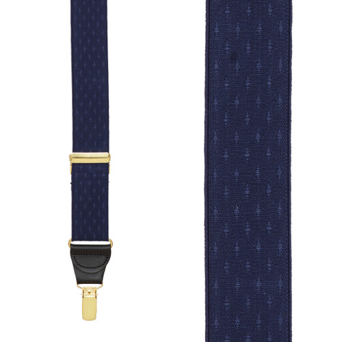Navy Blue Jacquard Suspenders - Petite Diamonds Clip