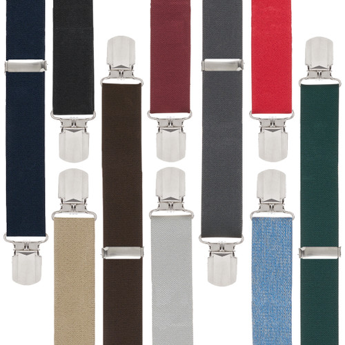 Big & Tall Suspenders - 1.5 Inch Wide Solid Pin Clip