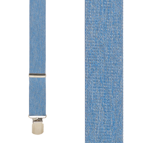 DENIM 1.5 Inch Wide Pin Clip Suspenders