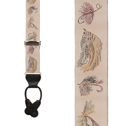 Vintage Ribbon Ivory Fly Fishing Suspenders - BUTTON