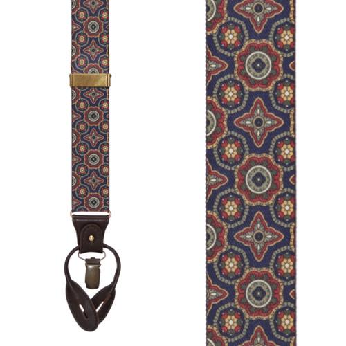 NAVY Geometric Pattern Suspenders - Convertible End