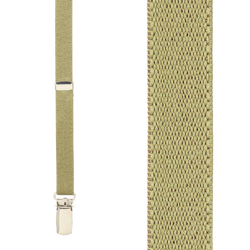 1/2 Inch Wide Skinny Suspenders - TAN
